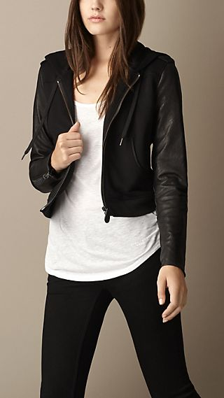 Leather Sleeve Hooded Top