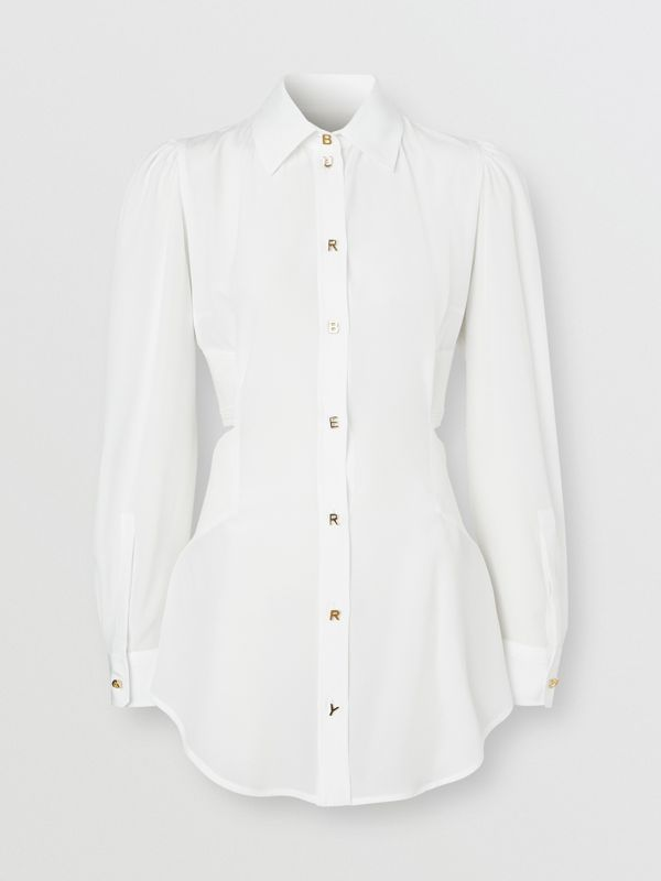 Logo Detail Cut-out Silk Shirt in Optic White - Women | Burberry United States - cell image 3