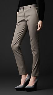 Pantaloni sartoriali in cotone stretch