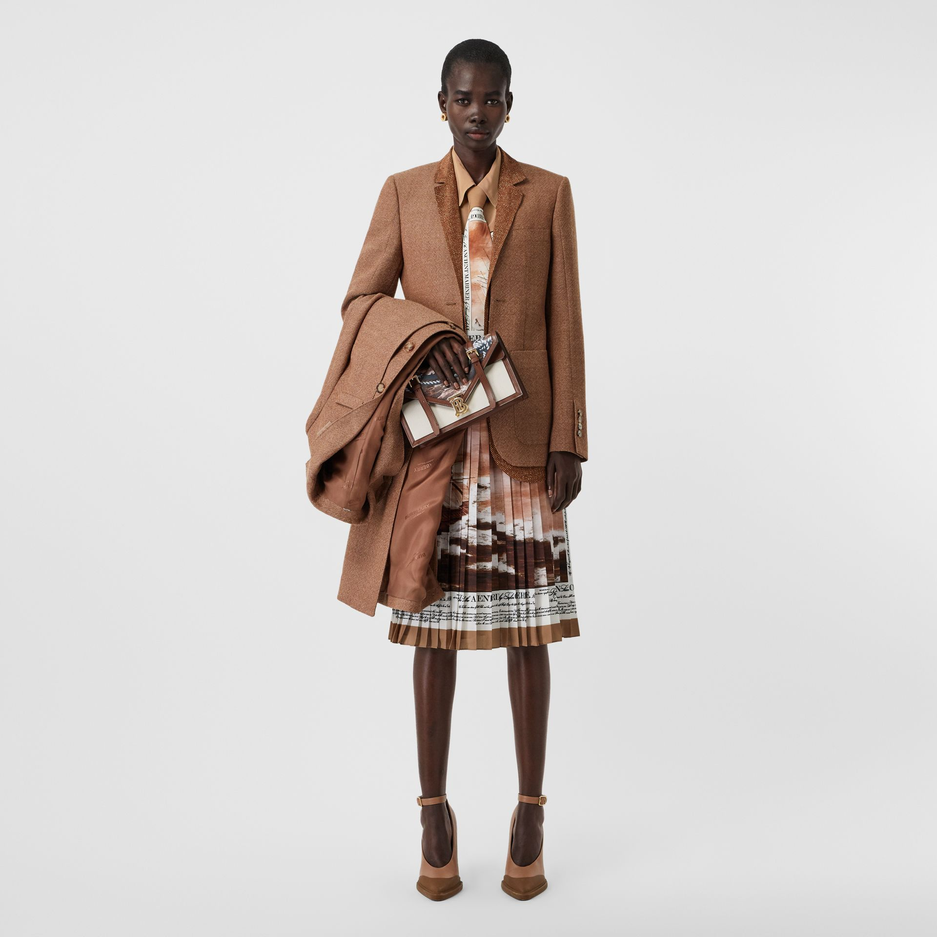 Mariner Print Silk Oversized Shirt in Bronze - Women | Burberry - gallery image 0
