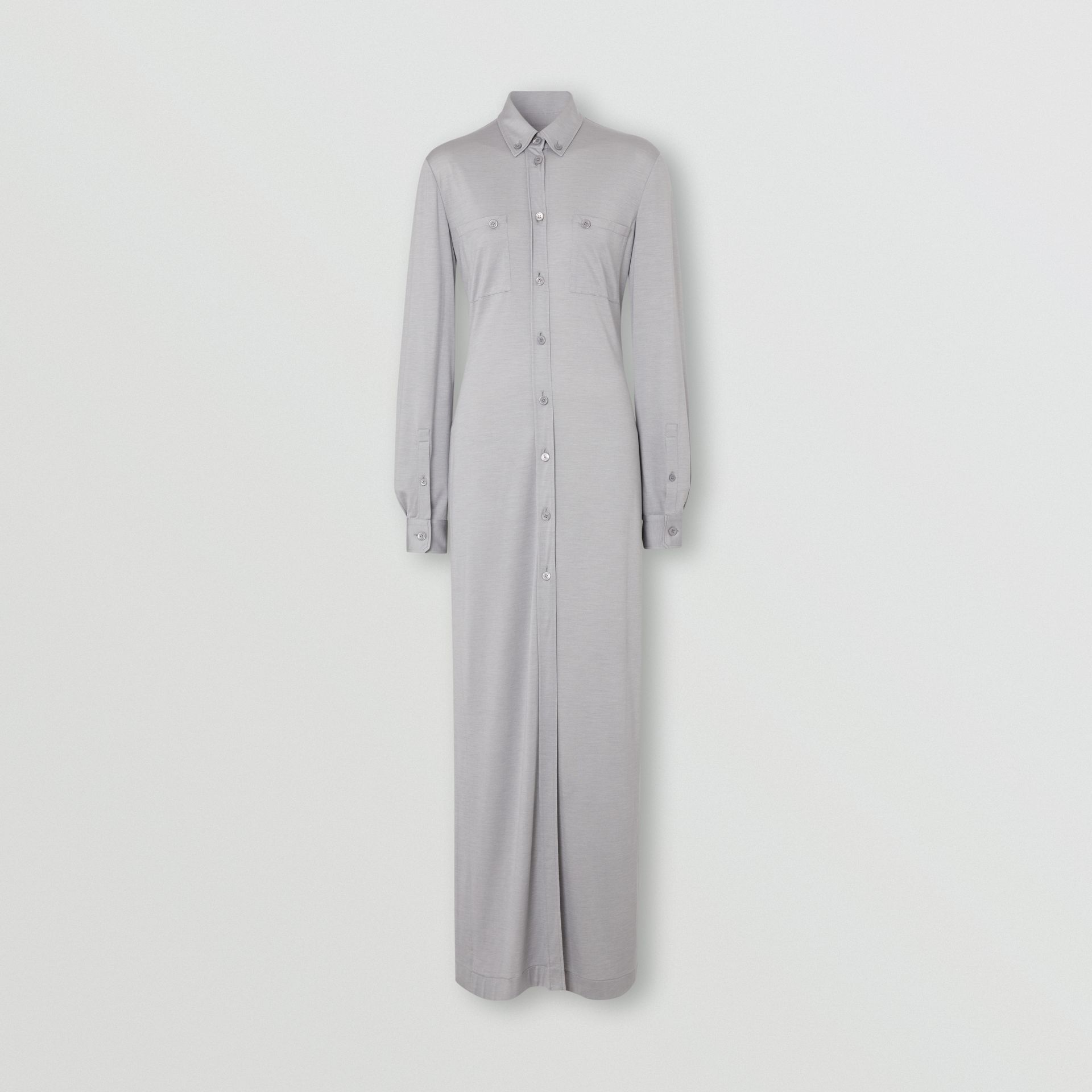 Side-slit Wool Silk Jersey Shirt Dress in Pewter Melange - Women | Burberry - gallery image 2