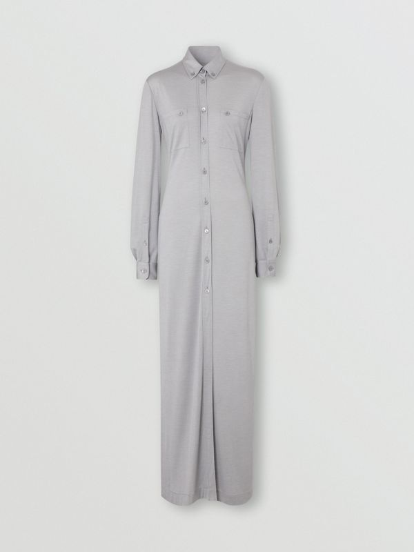 Side-slit Wool Silk Jersey Shirt Dress in Pewter Melange - Women | Burberry - cell image 2