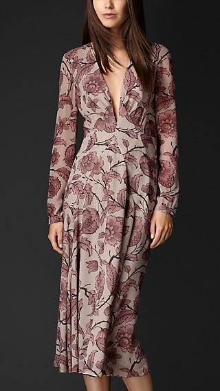 Floral Print Layered Silk Dress