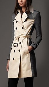Long Tweed Panel Trench Coat