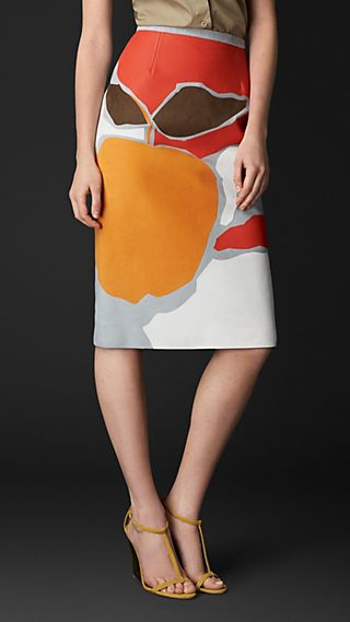 Book Cover Appliqué Nubuck Pencil Skirt