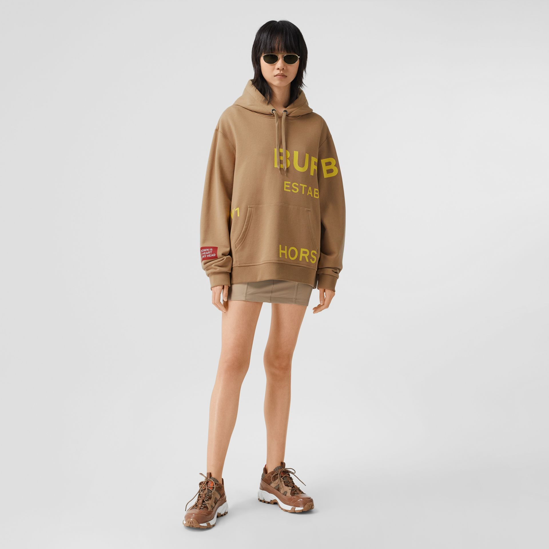 Horseferry Print Cotton Oversized Hoodie in Archive Beige | Burberry United Kingdom - gallery image 0