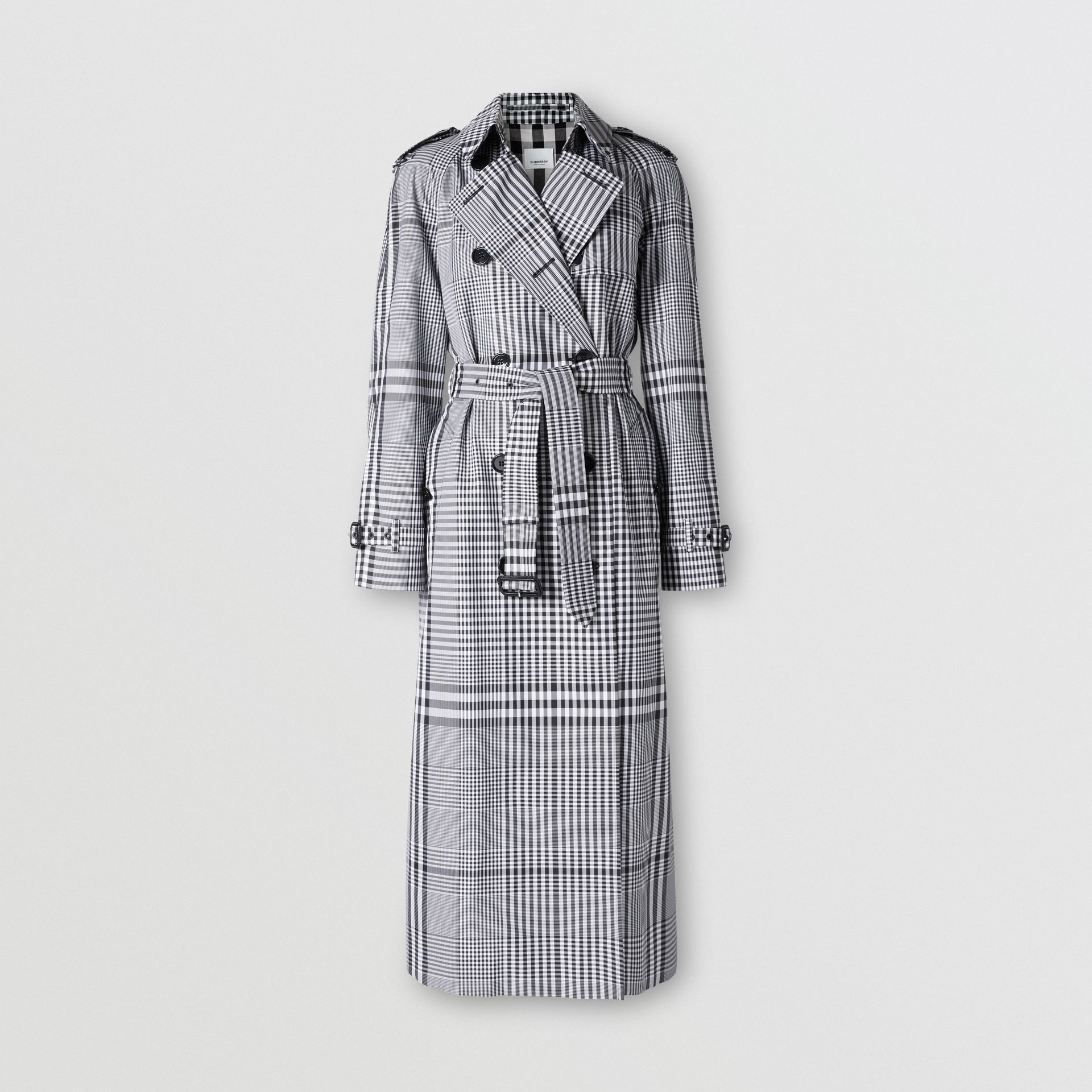 Check Twill Trench Coat in Black/white - Women | Burberry United States - gallery image 3