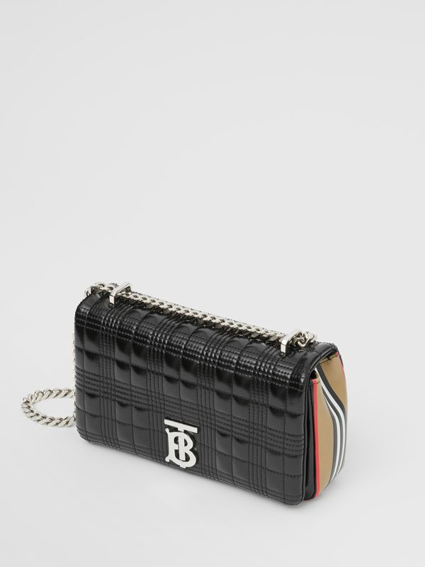 Small Icon Stripe Detail Quilted Lola Bag in Black/white - Women | Burberry - cell image 3