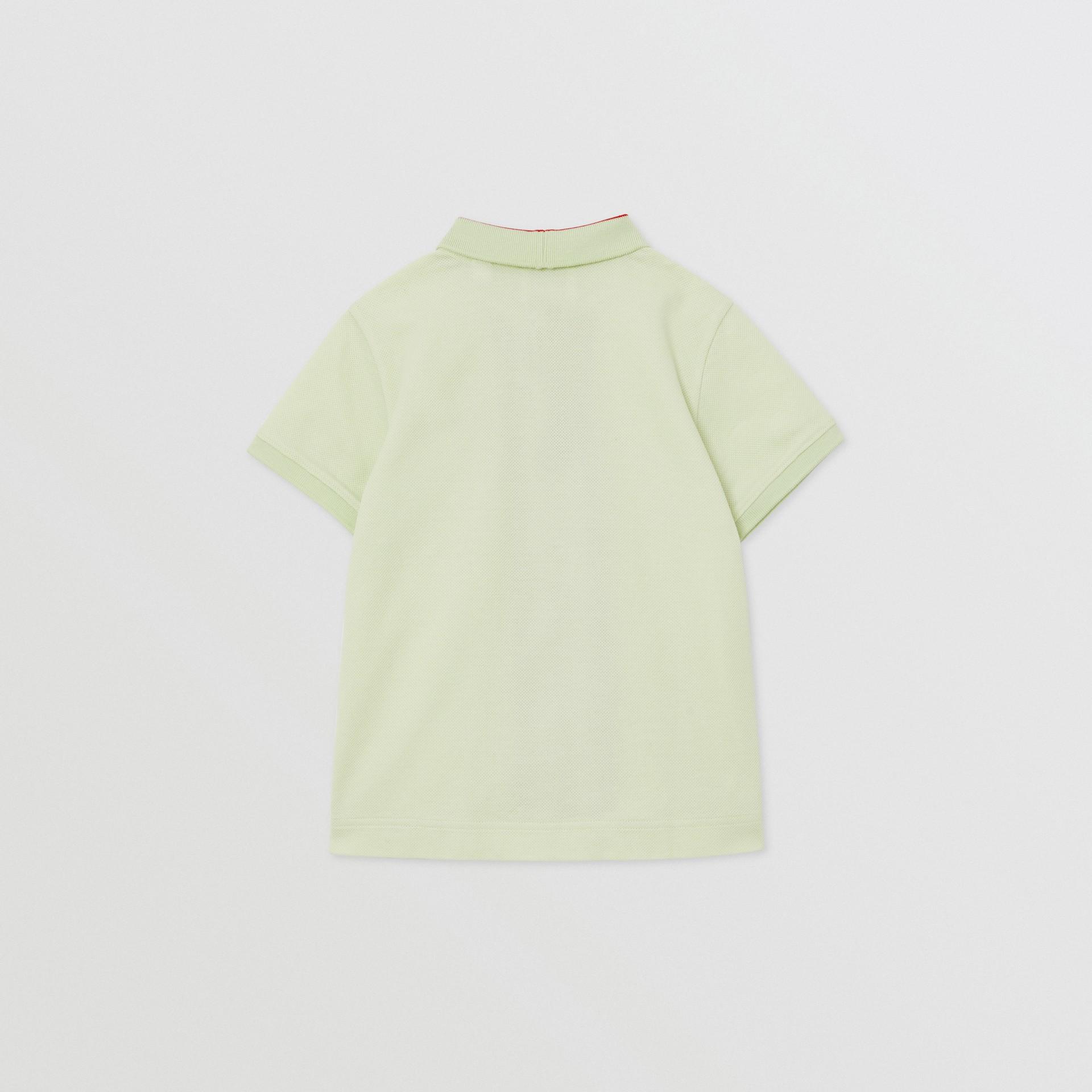 Monogram Stripe Print Cotton Piqué Polo Shirt in Pistachio | Burberry United States - gallery image 3