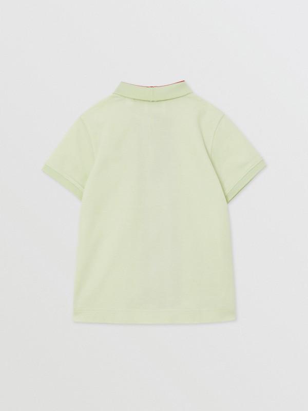 Monogram Stripe Print Cotton Piqué Polo Shirt in Pistachio | Burberry United States - cell image 3