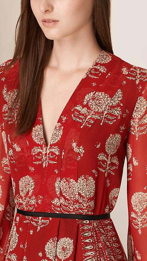 Military red Floral Print Silk A-line Dress - Image 3