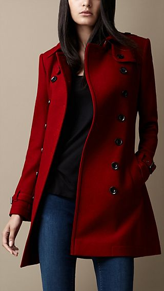 Mid-Length Wool Blend Trench Coat