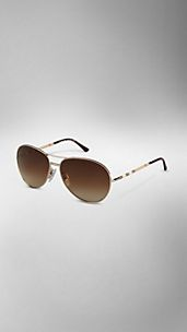Check Arm Aviator Sunglasses