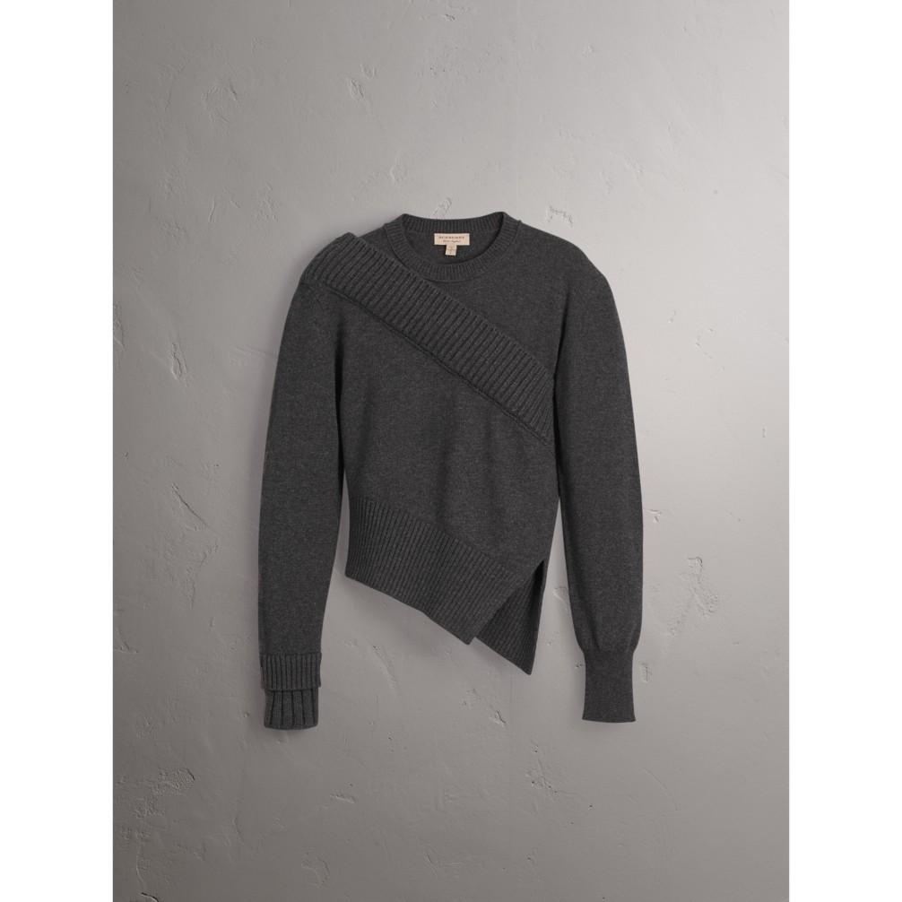 扭绳花纹装饰不对称式羊绒运动衫 产品图片31