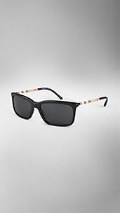 Check Arm Square Frame Sunglasses