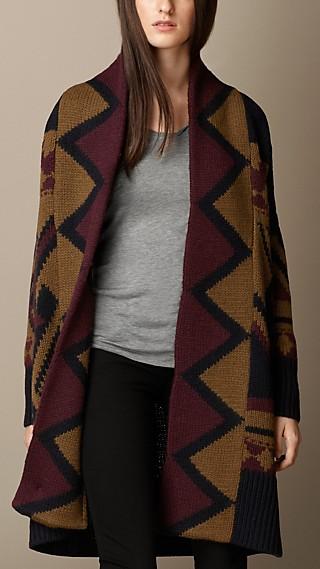 Geometric Intarsia Wool Cardigan Coat