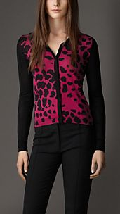 Animal Print Silk Cardigan