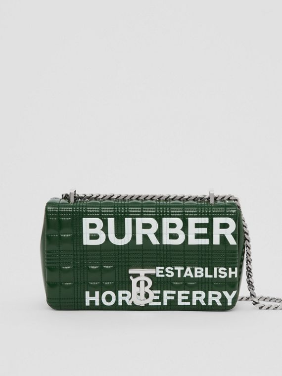 Small Horseferry Print Quilted Lola Bag in Dark Pine Green/white