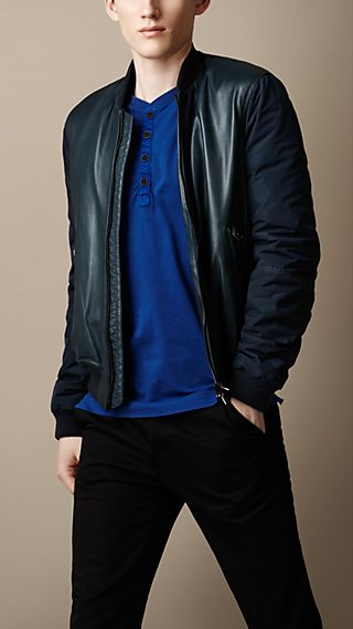Contrast Sleeve Leather Bomber