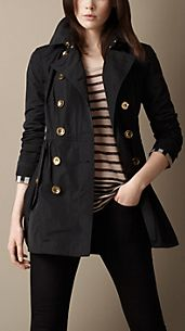 Trench coat corto con pannello inferiore ripreso