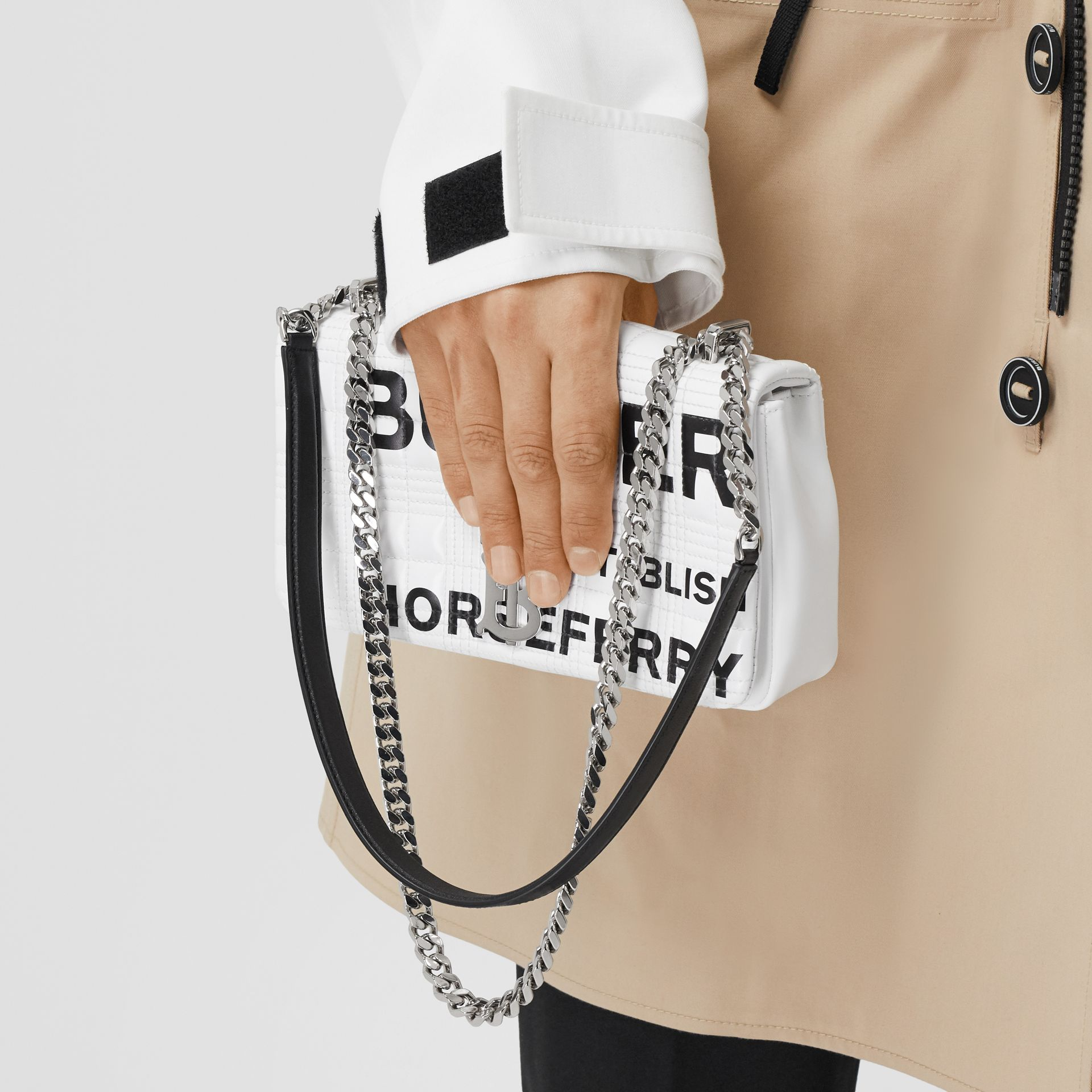 Small Horseferry Print Quilted Lola Bag in White   Burberry - gallery image 3