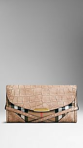 Alligator And Bridle House Check Clutch Bag