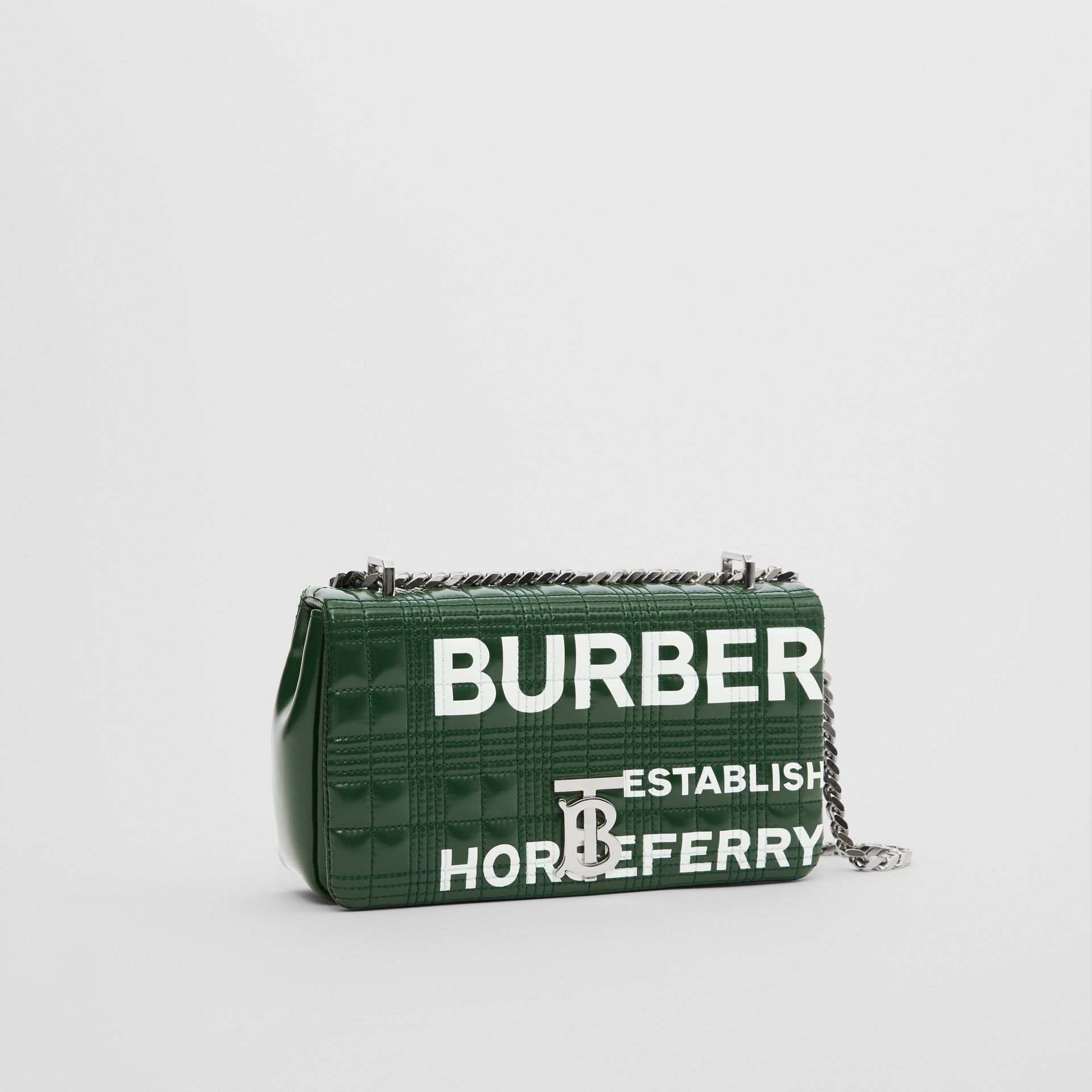 Small Horseferry Print Quilted Lola Bag in Dark Pine Green/white - Women | Burberry United States - gallery image 6