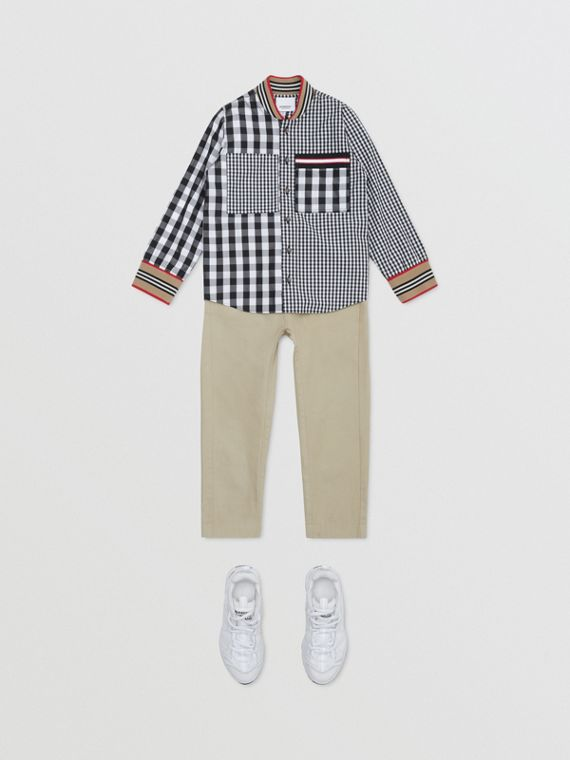 Icon Stripe Trim Gingham Cotton Shirt in Black