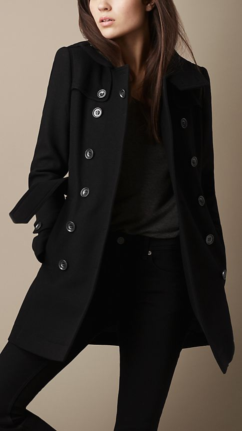 short double wool twill trench coat black burberry. Black Bedroom Furniture Sets. Home Design Ideas