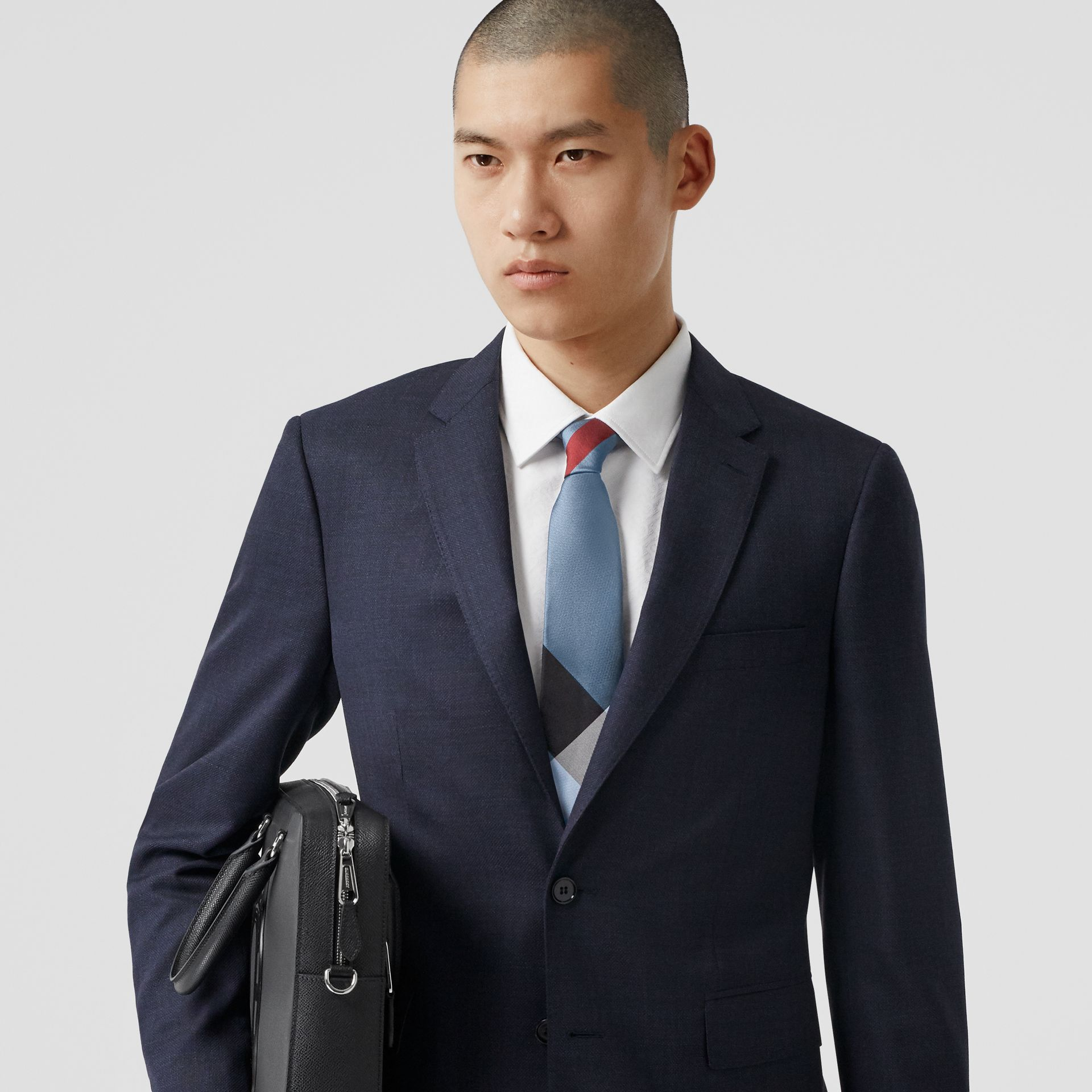 Classic Cut Check Silk Jacquard Tie in Bright Steel Blue | Burberry United Kingdom - gallery image 2