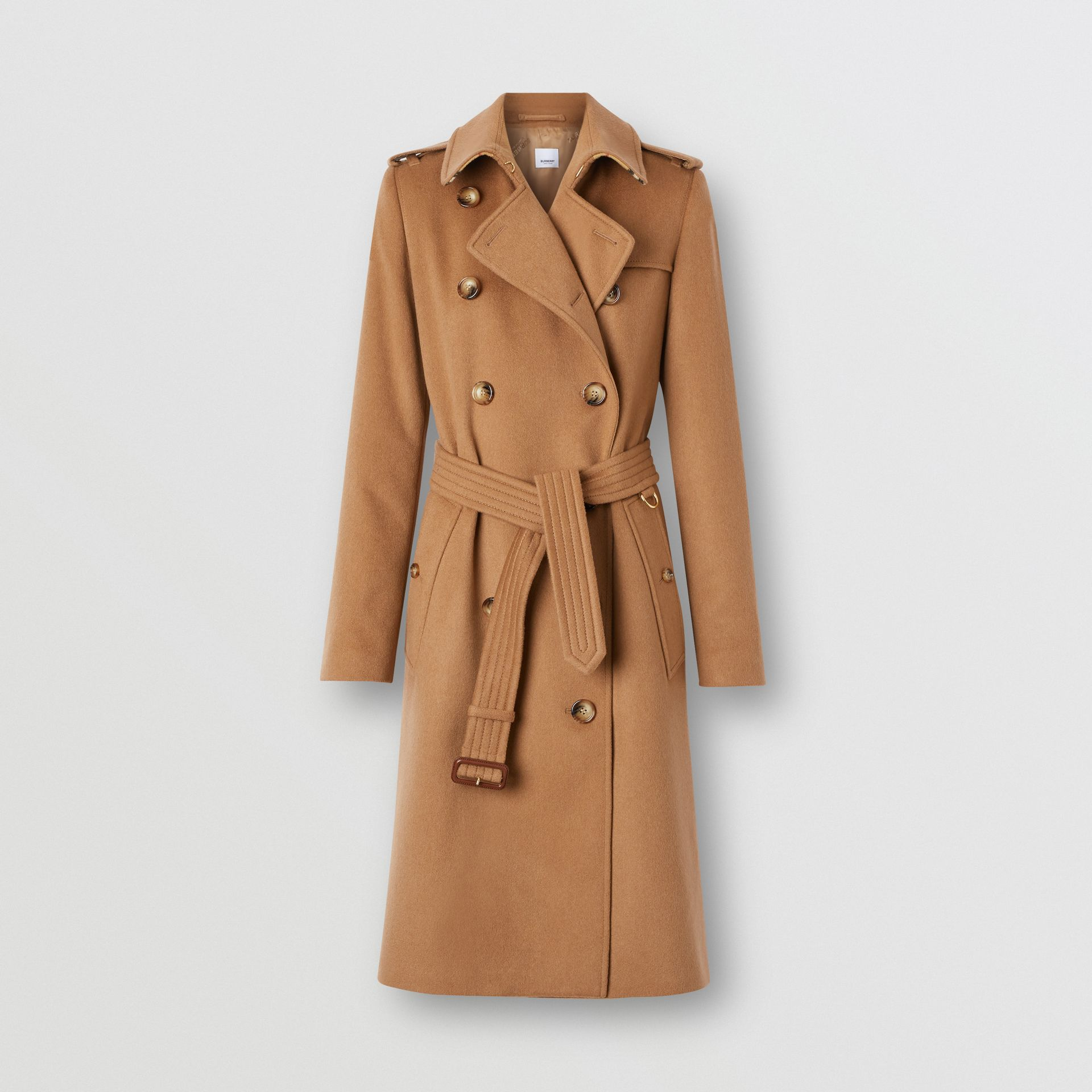 Regenerated Cashmere Trench Coat in Bronze - Women | Burberry - gallery image 3