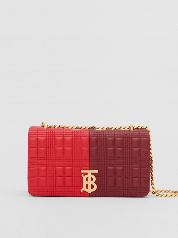Bolsa Lola de couro de cordeiro em colour block - Pequena (Vermelho Intenso/borgonha)