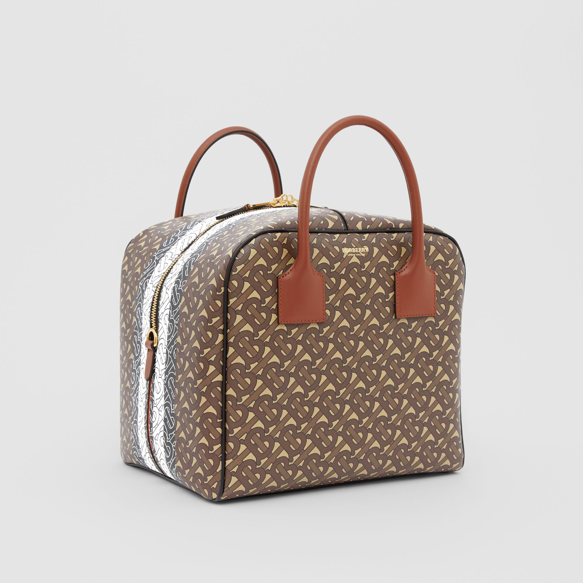 Medium Monogram Stripe E-canvas Cube Bag in Bridle Brown - Women | Burberry - gallery image 6