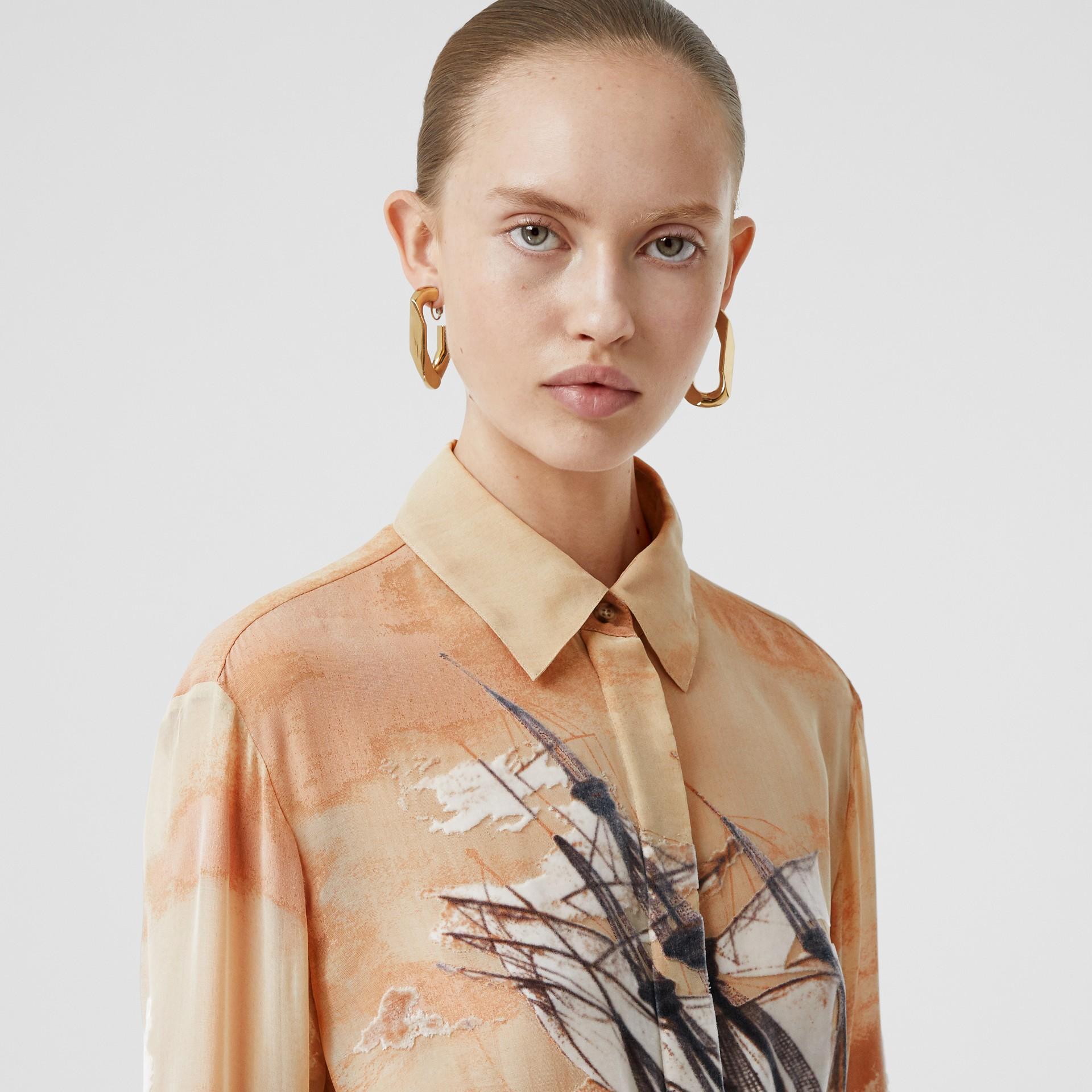 Ship Print Devoré Silk Blend Oversized Shirt in Bronze - Women | Burberry - gallery image 5