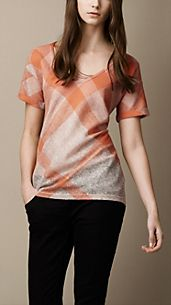 Check Cotton Linen Blend T-Shirt