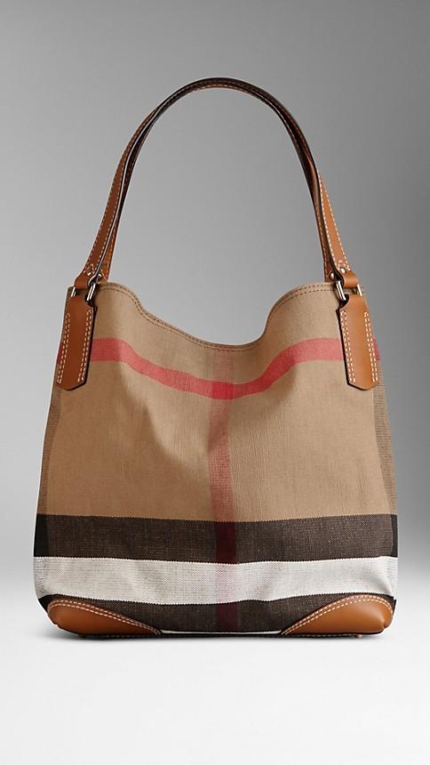 30a864d458 Medium Canvas Check Tote Bag Saddle Brown | Burberry