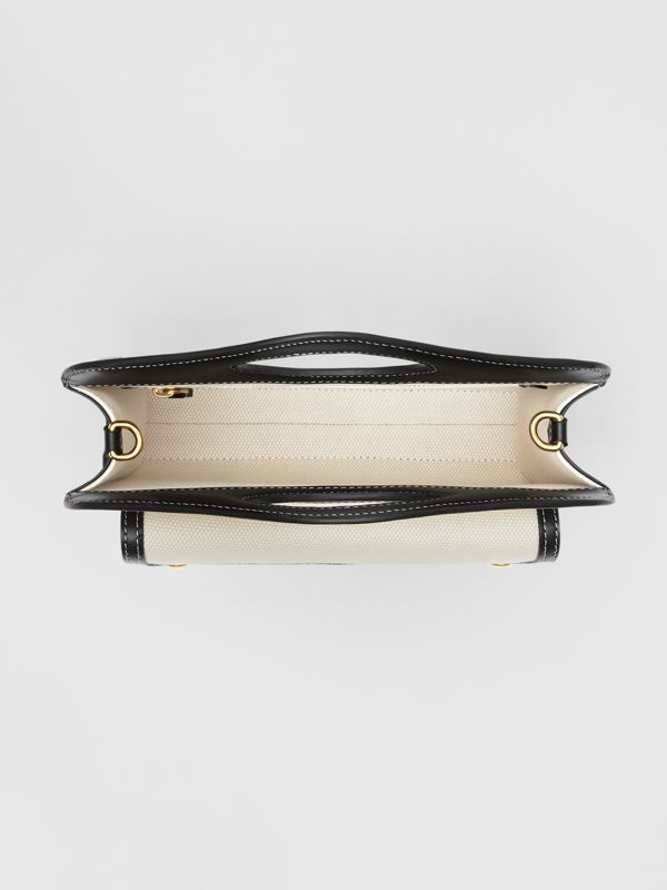 Mini Logo Graphic Canvas and Leather Pocket Bag in Natural/black - Women | Burberry - cell image 3