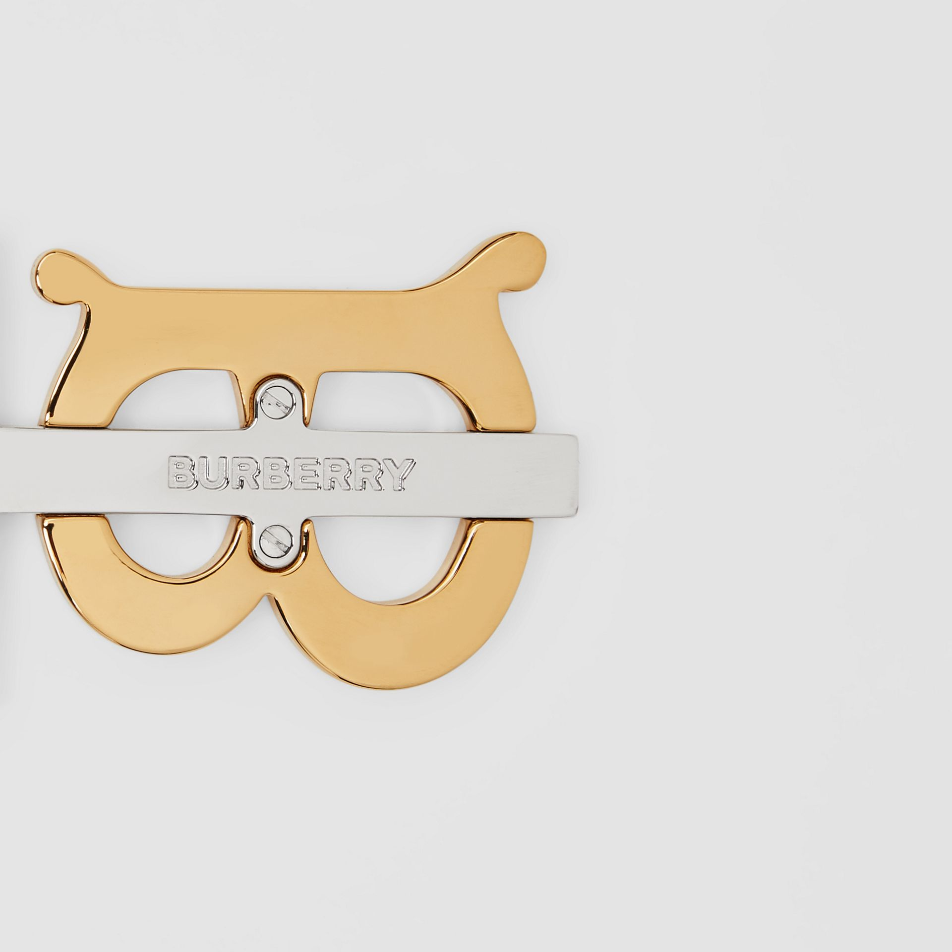 Gold and Palladium-plated Monogram Motif Key Ring in Gold/palladium | Burberry United Kingdom - gallery image 1