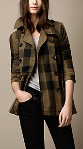 Trench coat corto in cotone e lino check