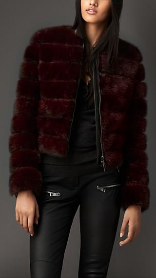 Leather Detail Mink Jacket