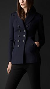 Shawl Collar Fitted Pea Coat