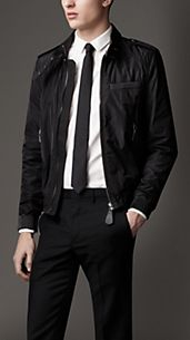 Leather Detail Zip-Through Blouson