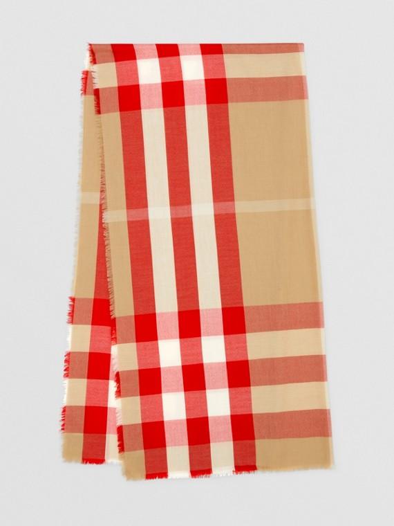 輕盈格紋喀什米爾圍巾 (典藏米色/紅色)