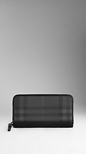 Charcoal Check Ziparound Wallet