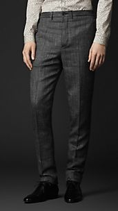 Slim Fit Tweed Trousers