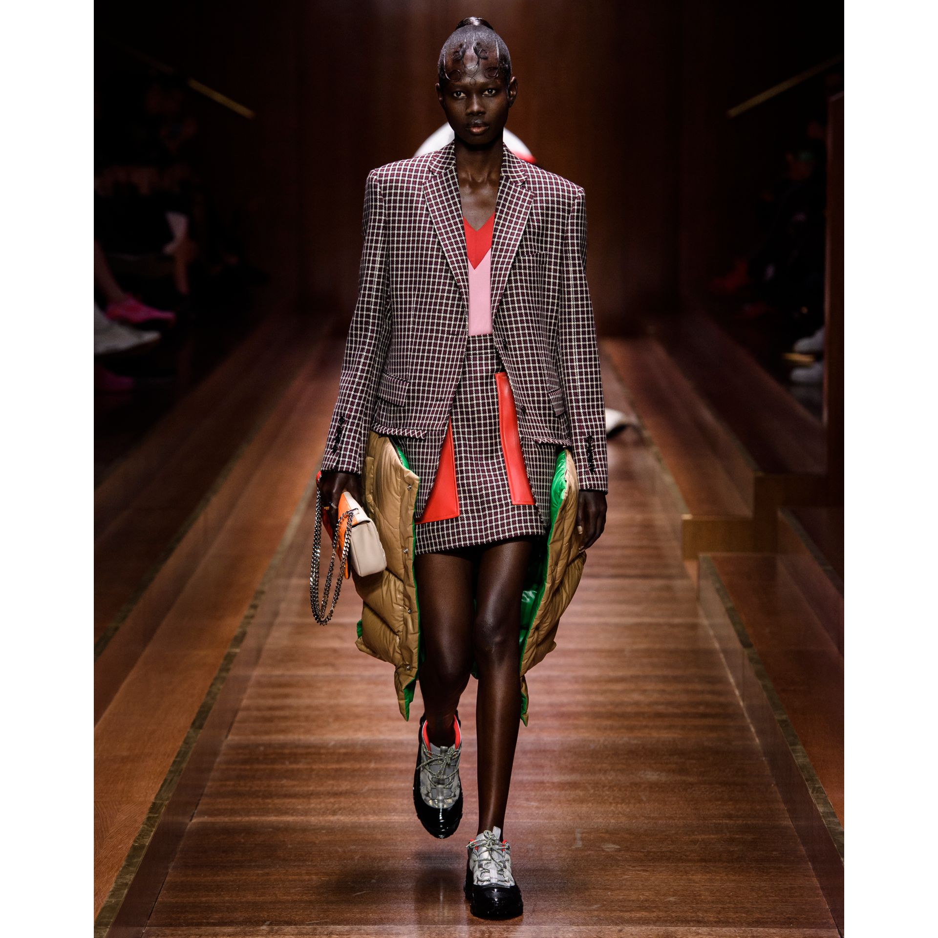 Pocket Detail Tartan Wool Mini Skirt in Bordeaux - Women | Burberry - gallery image 7