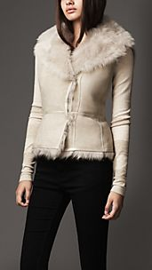 Leather Detail Sheepskin Gilet