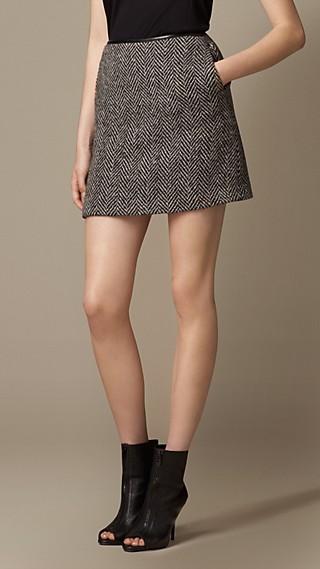 Herringbone Wool Leather Trim Skirt