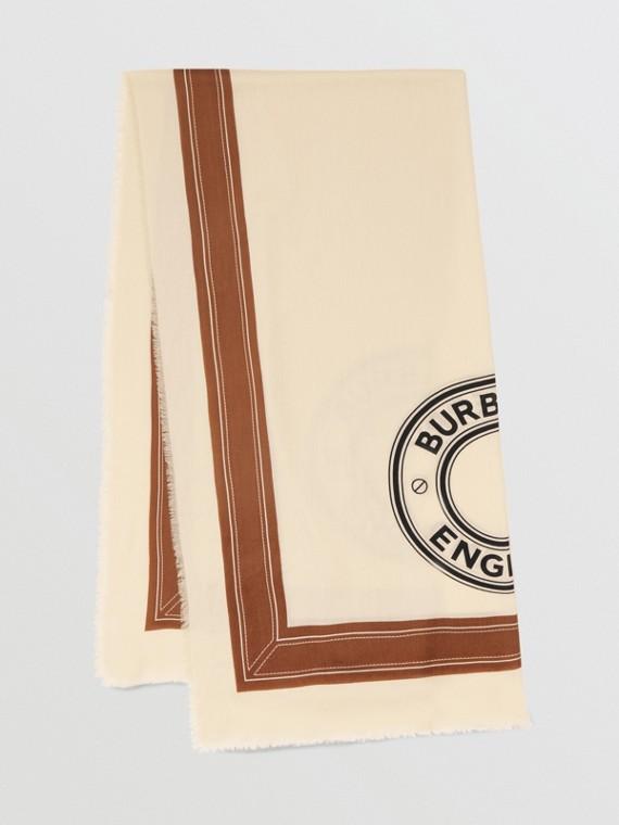 Cachecol de cashmere leve com logotipo gráfico (Branco Natural)
