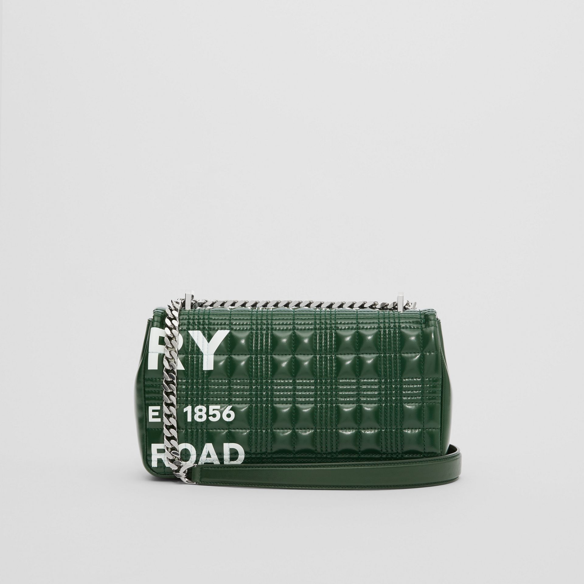 Small Horseferry Print Quilted Lola Bag in Dark Pine Green/white - Women | Burberry United States - gallery image 7